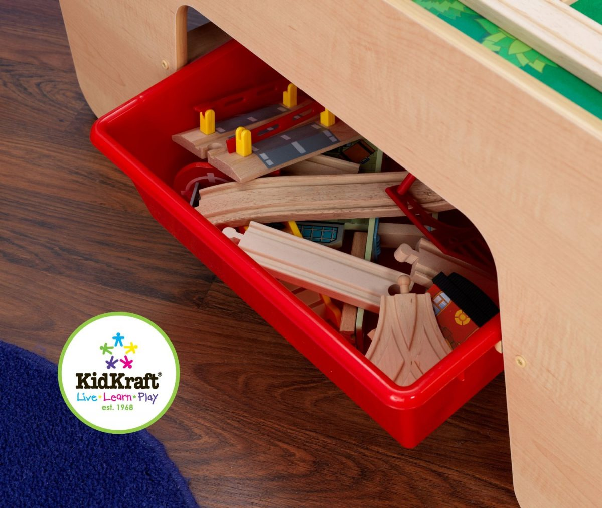 KidKraft Waterfall Mountain Train Table Storage bins