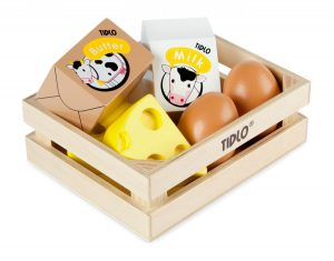 T-0103 Tidlo Wooden Eggs and Dairy Crate 001