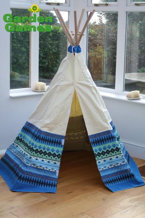 GG3042 Blue Aztec Wigwam Play Tent 002