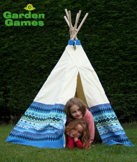 GG3042 Blue Aztec Wigwam Play Tent 004