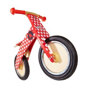 Kiddimoto Kurve Red and White Dotty Balance Bike