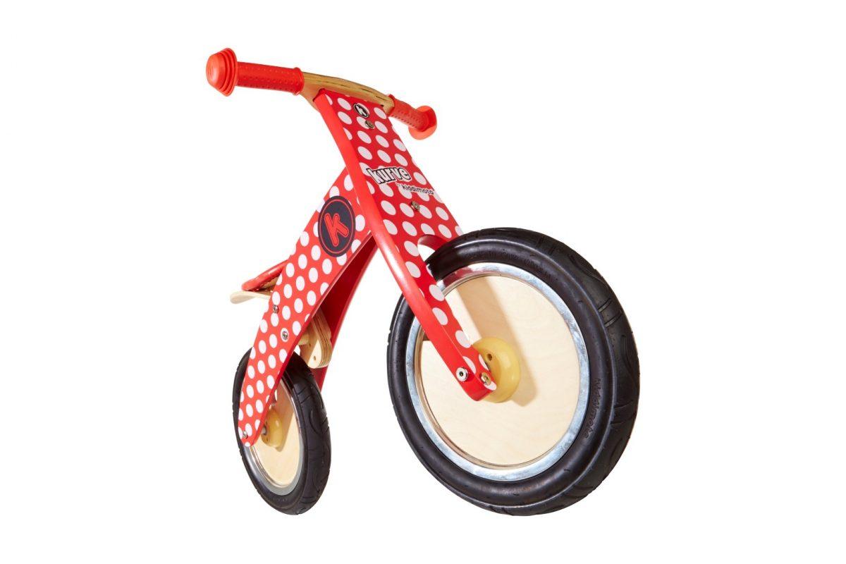 KM606 Kiddimoto Kurve Red and White Dotty Balance Bike 002