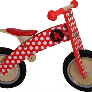 KM606 Kiddimoto Kurve Red and White Dotty Balance Bike 001