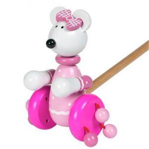 Orange Tree Toys Push Along Pink Mouse