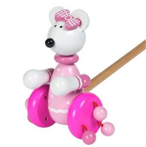 Orange Tree Push Along Wooden Toy Pink Mouse 001