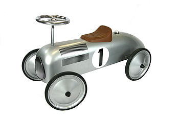 14136 Silver Classic Metal Ride on Car 003