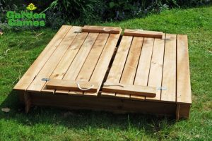Wooden Square Sandpit with Benches and Cover