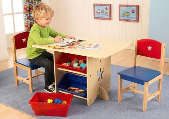ZZ26912 KIdKraft Star Table & Chair Set with Primary Bins 001