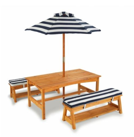 ZZKK00106 Outdoor Table & Bench Set with Cushions & Umbrella - KidKraft  001