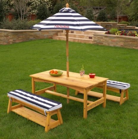 ZZKK00106 Outdoor Table & Bench Set with Cushions & Umbrella - KidKraft  003
