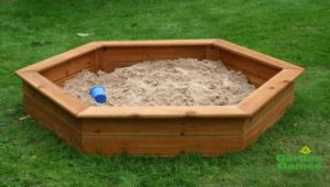 Wooden 3 Seater Hexagonal Sandpit