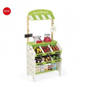 J06574 Janod Green Market Grocery Shop Play Set  001