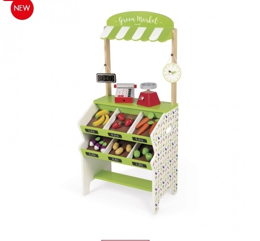 J06574 Janod Green Market Grocery Shop Play Set  004