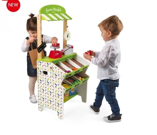 J06574 Janod Green Market Grocery Shop Play Set  003