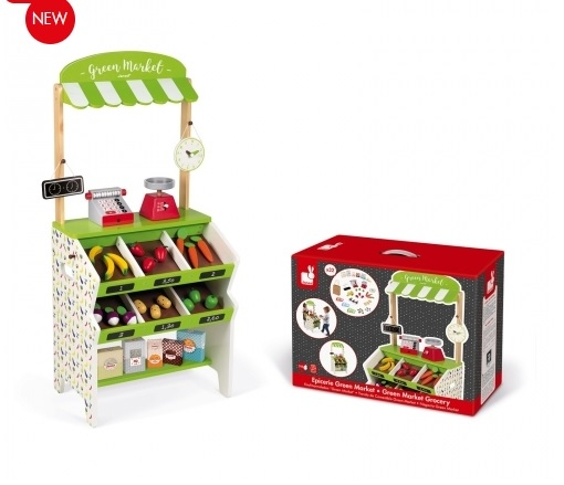 J06574 Janod Green Market Grocery Shop Play Set  005