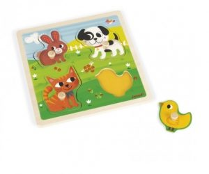 Janod Tactile 'My First Animals' Wooden Puzzle