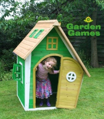 whacky ranch wooden playhouse by garden games with girl playing