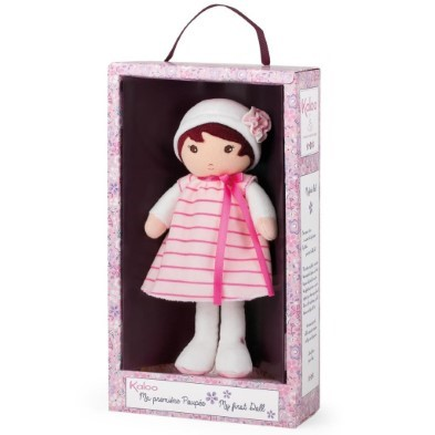Kaloo doll in pink striped dress