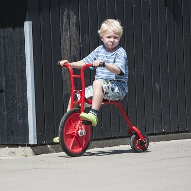 little boy riding viking explorer small penny farthing bike