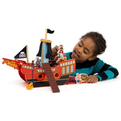 lanka kade pirate ship with boy playing
