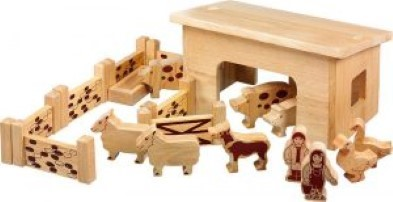 Wooden Pig And Sheep Barn Set