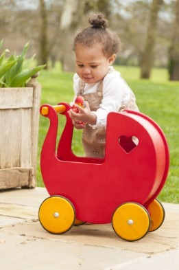 moover wooden dolls pram red with girl