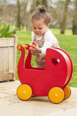 Moover Dolls Pram Red (Birch Veneer)