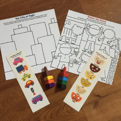 match the mood stickers and colouring