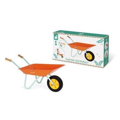 childrens janod metal wheelbarrow with box
