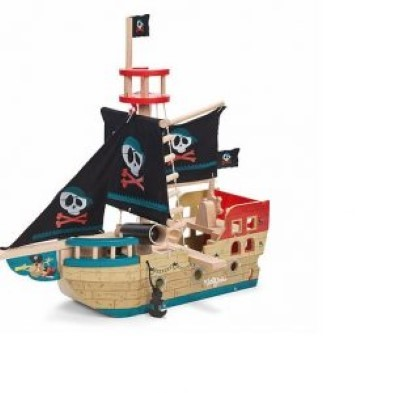 Jolly Pirate Ship with 'Jolly Roger' flags flying