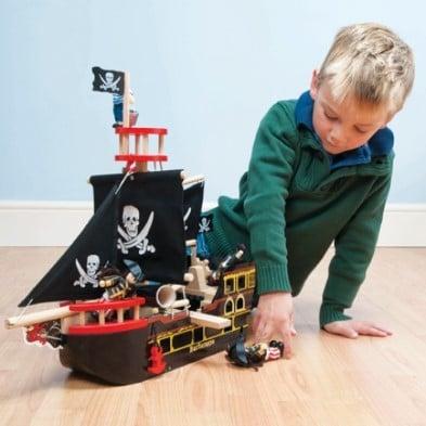 boy playing with LTV barbarossa pirate ship 3