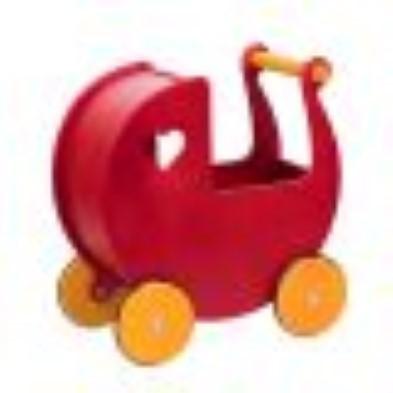 moover wooden dolls pram red