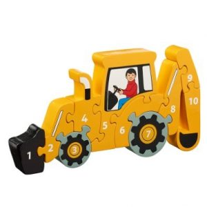 Yellow Digger 1-10 Wooden Jigsaw  Puzzle
