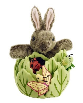 hide away rabbit in a lettuce puppet set by the puppet company
