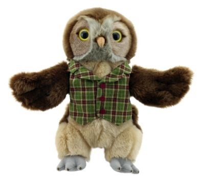 dressed owl hand puppet by the puppet company