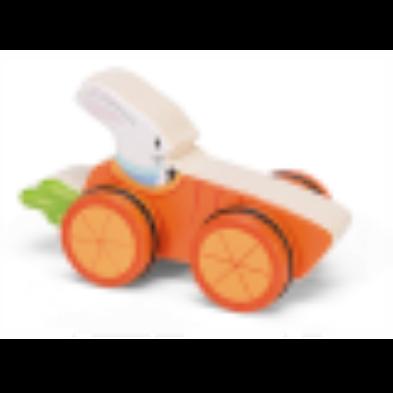 Woodland racer rabbit driving carrot