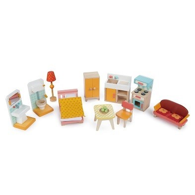 tiny playset of living room and kitchen