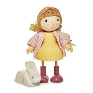 amy goodward and her pet rabbit wooden dolls