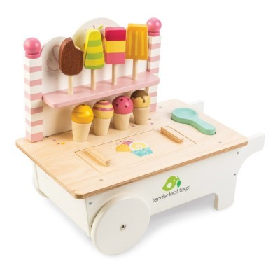 wooden ice cream cart