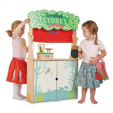woodland stores and theatre by tender leaf toys girls playing shop