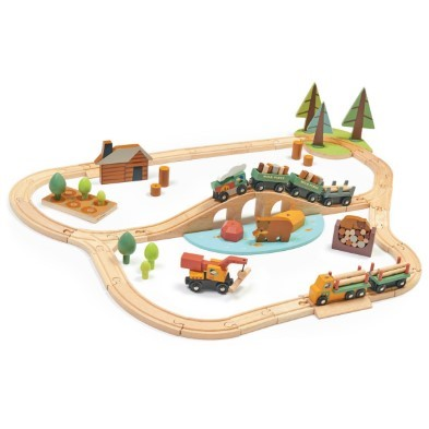 tender leaf toys wild pines wooden train set