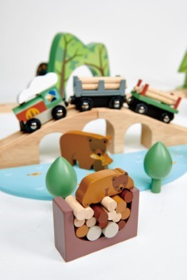 tender leaf toys wild pines train set bear and train detail