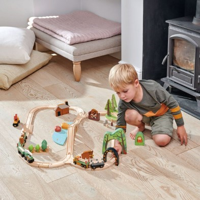 tender leaf toys wild pines train set with boy 2