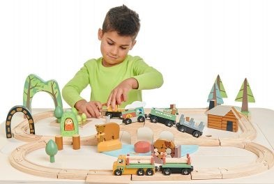 tender leaf toys wild pines train set with boy