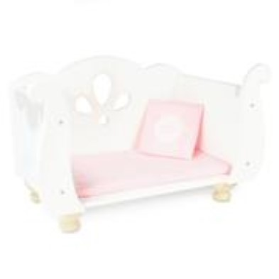 le toy van sleigh dolls cot bed open