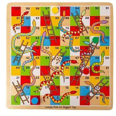 traditional snakes and ladders family board game