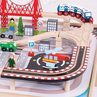 bigjigs rail city train set and table roads