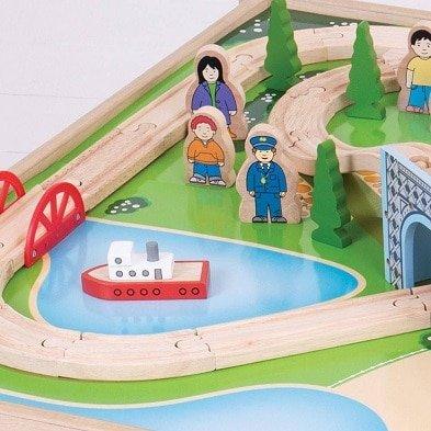 bigjigs rail city train set and table lake