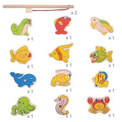 fish selection bigjigs wooden magnetic fishing game