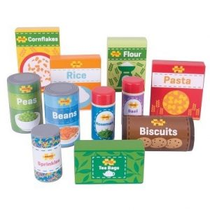 bigjigs cupboard groceries wooden play food set